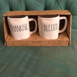 Rae Dunn thankful and blessed mug set